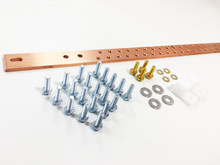 "19"" Horizontal Rack Copper Bus Bar Kit - 3/16"" x 1"" x 19"" (BB14119TKIT)"