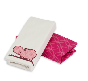 toTs® Joy 2 Stück Spannbettlaken - Pink Hippos