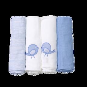 toTs® 4er Pack extra große Mulltücher Classic - Blau