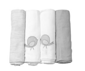toTs® 4er Pack extra große Mulltücher Classic - Grau