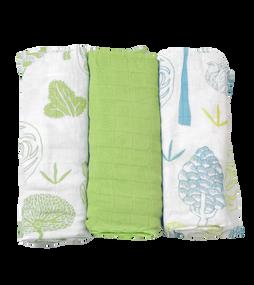 toTs®  3er Pack Bamboo Mullwindeln - Grün