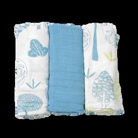 toTs® 3er Pack Bamboo Mullwindeln  - Blau