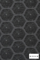 Mokum Sea Urchin - Slate  | Upholstery Fabric - Fire Retardant, Beach, Black - Charcoal, Deco, Decorative, Eclectic, Foulard, Geometric, Honeycomb, Midcentury, Organic