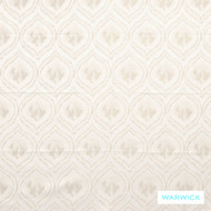 Warwick Antonia Adena Snow    Curtain Fabric - Beige, White, Fibre Blends, Geometric, Linen and Linen Look, Mediterranean, Ogee, Transitional, Washable, Domestic Use, White