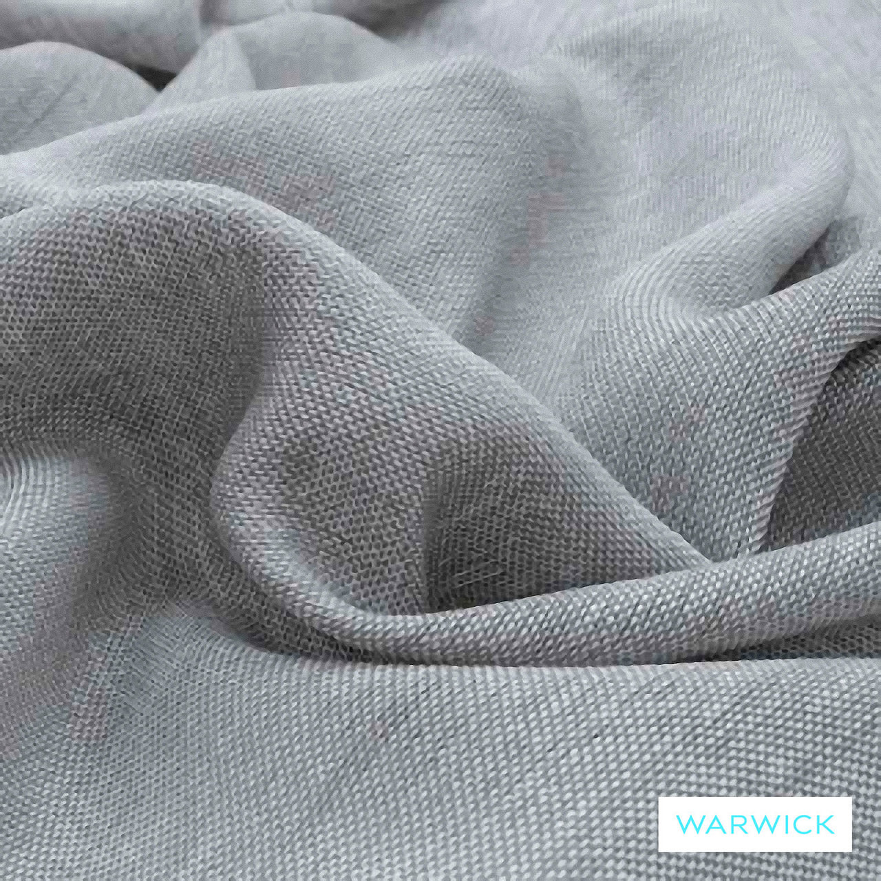 Warwick Chios Asphalt  | Curtain Sheer Fabric - Grey, Plain, Synthetic, Transitional, Washable, Domestic Use, Weighted Hem, Wide Width