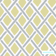 Warwick Denver Stamford (Pnm) Custard  | Curtain & Upholstery fabric - Gold,  Yellow, Geometric, Synthetic, Traditional, Washable, Commercial Use, Halo, Lattice, Trellis