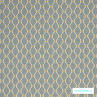 Warwick Ettienne Lazare Aqua  | Upholstery Fabric - Geometric, Mediterranean, Ogee, Transitional, Washable, Domestic Use, Standard Width