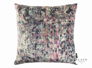 Black Edition - Lombardo 65cm Cushion Zinnia  | Cusion Fabric - Blue, Contemporary, Damask, Pink, Purple, Velvet/Faux Velvet, Abstract, Domestic Use, Print, Watercolour