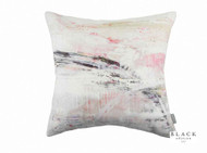 Black Edition - Beginning Cushion  | - Grey, White, Contemporary, Linen and Linen Look, Pink, Purple, Abstract, Domestic Use, Print, White, Watercolour