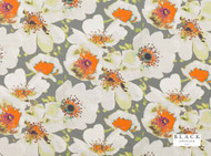 Black Edition - Eden Vermillion  | Curtain & Upholstery fabric - Linen/Linen Look, Gold, Yellow, Grey, Orange, Contemporary, Dry Clean, Natural, Print