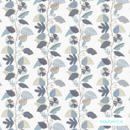 Warwick Lowell Cleveland (Pnm) Atoll  | Curtain & Upholstery fabric - Blue, Floral, Garden, Midcentury, Synthetic, Washable, Commercial Use, Halo, Standard Width