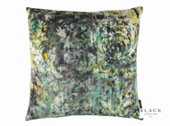 Black Edition - Lombardo 50cm Cushion Peacock  | Cusion Fabric - Gold,  Yellow, Contemporary, Damask, Velvet/Faux Velvet, Abstract, Domestic Use, Print, Standard Width