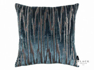 Black Edition - Zkara 50cm Cushion Teal  | Cusion Fabric - Blue, Metallic, Contemporary, Geometric, Velvet/Faux Velvet, Domestic Use, Metal, Standard Width