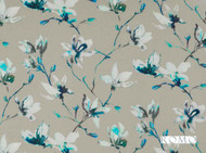 Romo - Saphira Topaz  | Curtain & Upholstery fabric - Blue, Grey, Floral, Garden, Botantical, Dry Clean, Farmhouse, Natural, Print, Natural Fibre