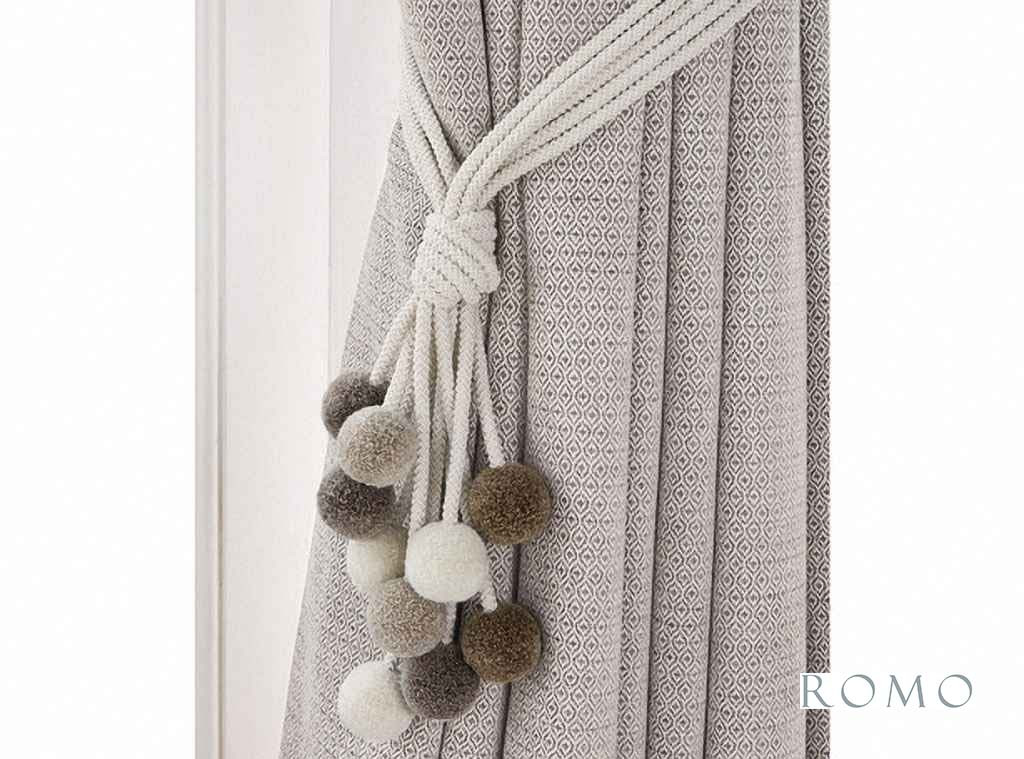 Romo - Rialto Tie Back Oyster  | Tie back, Curtain Accessory - Beige, Brown, Grey, Contemporary, Whites, Trimmings, Tie-Back, Fibre Blend