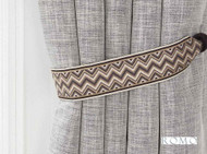 Romo - Marcel Tie Back Charcoal  | Tie back, Curtain Accessory - Black, Charcoal, Brown, Tan, Taupe, Trimmings, Tie-Back, Fibre Blend