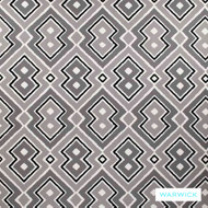 Warwick Monochrome Lennon Platinum  | Curtain Fabric - Grey, Black - Charcoal, Contemporary, Kilim, Mediterranean, Synthetic, Transitional, Washable, Domestic Use, Halo