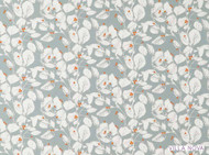 Villa Nova - Langley Clementine  | Curtain & Upholstery fabric - Blue, Orange, Floral, Garden, Botantical, Dry Clean, Farmhouse, Natural, Print