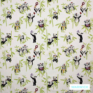 Warwick Playtime Panda Apple  | Curtain Fabric - Contemporary, Kids, Children, Midcentury, Natural Fibre, Washable, Animals, Animals - Fauna, Domestic Use, Natural