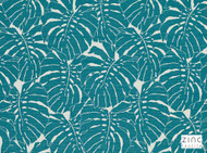 Zinc Textile - Bois Jolan Lagoon  | Upholstery Fabric - Washable, Turquoise, Teal, Contemporary, Floral, Garden, Botantical, Outdoor Use, Abstract