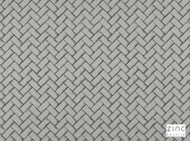 Zinc Textile - Fontaine Storm  | Curtain & Upholstery fabric - Grey, Dry Clean, Geometric, Silk Fabric, Chevron, Zig Zag, Decorative, Herringbone