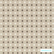 Warwick Shoreditch Hoxton Nougat  | Upholstery Fabric - Beige, Diaper, Foulard, Geometric, Linen and Linen Look, Midcentury, Quatrefoil, Small Scale, Synthetic, Traditional