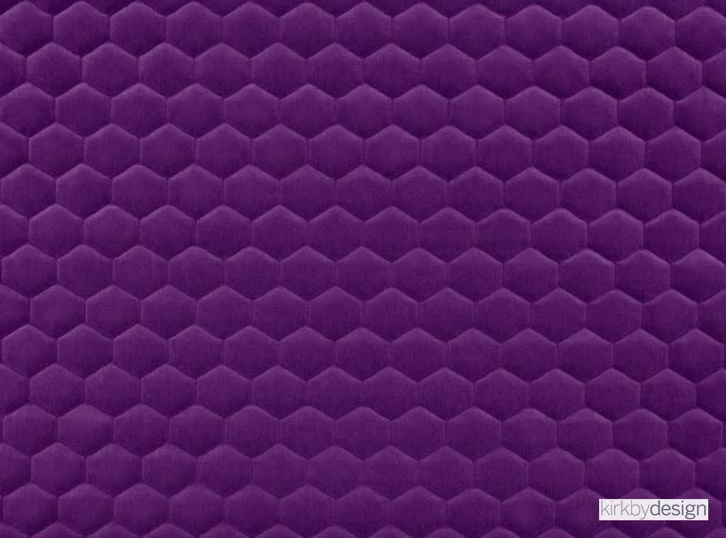 Kirkby Design - Cloud Electric Purple  | Upholstery Fabric - Pink, Purple, Dry Clean, Geometric, Embroidery, Quilted, Velvets, Honeycomb, Fibre Blend