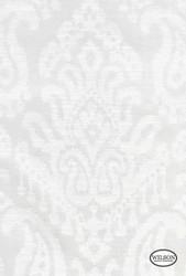 Wilson - Tulum - Silver Damask  | Curtain Fabric - Silver, White, Damask, Fibre Blends, Traditional, White, Standard Width, Rococo