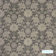 Warwick - Maharaja Charcoal  | Upholstery Fabric - Brown, Grey, Floral, Garden, Traditional, Animals, Animals - Fauna, Domestic Use, Railroaded, Standard Width, Elephants