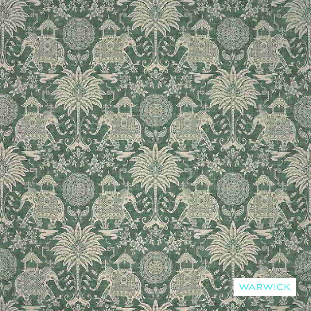 Warwick - Maharaja Emerald  | Upholstery Fabric - Floral, Garden, Traditional, Animals, Animals - Fauna, Domestic Use, Railroaded, Standard Width, Elephants