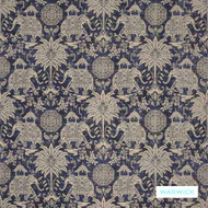 Warwick - Maharaja Indigo  | Upholstery Fabric - Blue, Floral, Garden, Traditional, Animals, Animals - Fauna, Domestic Use, Railroaded, Standard Width, Elephants