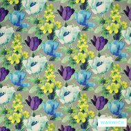 Warwick Tuileries Opal  | Curtain & Upholstery fabric - Blue, Contemporary, Eclectic, Floral, Garden, Natural Fibre, Washable, Domestic Use, Natural, Semi-Plain