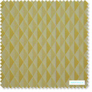 Warwick - Ribbon Acid  | Curtain Fabric - Gold,  Yellow, Geometric, Abstract, Diamond - Harlequin, Domestic Use, Print, Railroaded, Standard Width, Triangles