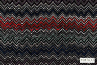Marco Fabrics - Ziggy Reef  | Curtain & Upholstery fabric - Blue, Red, Black - Charcoal, Multi-Coloured, Mediterranean, Moroccan, Pattern, Chevron, Zig Zag, Domestic Use