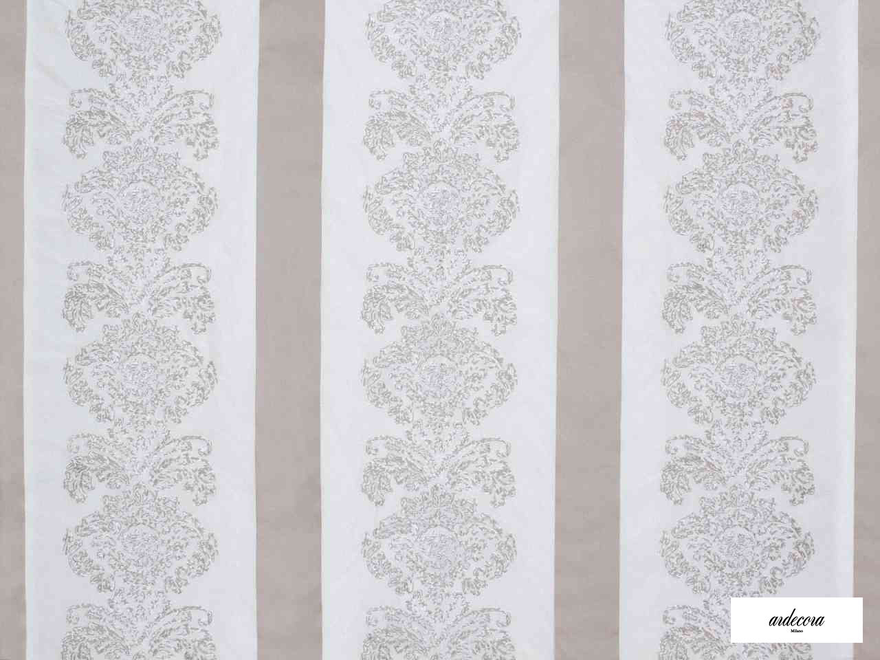 Ardecora - Galleria - 15386.992  | Curtain Fabric - Brown, White, Damask, Fibre Blends, Stripe, Traditional, Domestic Use, White, Standard Width, Rococo