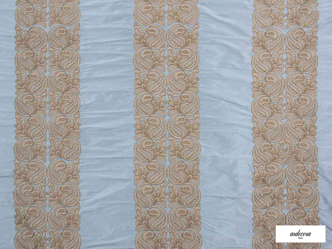 Ardecora - Meda - 15370.684  | Curtain Fabric - Blue, Grey, Damask, Fibre Blends, Stripe, Traditional, Domestic Use, Standard Width, Rococo