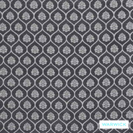 Warwick Winslow Aylesbury Onyx  | Curtain & Upholstery fabric - Black - Charcoal, Damask, Diaper, Fibre Blends, Geometric, Mediterranean, Ogee, Traditional, Washable