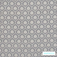 Warwick Winslow Aylesbury Pewter  | Curtain & Upholstery fabric - Grey, Damask, Diaper, Fibre Blends, Geometric, Mediterranean, Ogee, Traditional, Washable, Domestic Use
