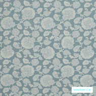 Warwick Winslow Harrogate Duck Egg    Curtain & Upholstery fabric - Blue, Fibre Blends, Floral, Garden, Traditional, Washable, Domestic Use, Standard Width