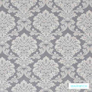 Warwick Winslow Pewter  | Curtain & Upholstery fabric - Grey, White, Damask, Fibre Blends, Traditional, Washable, Domestic Use, White, Standard Width