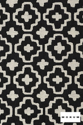 Mokum Nomad - Ebony  | Upholstery Fabric - Stain Repellent, Fire Retardant, White, Black - Charcoal, Diaper, Fibre Blends, Geometric, Ikat, Mediterranean, Moroccan, Pattern