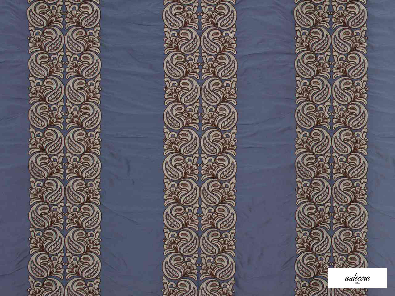 Ardecora - Meda - 15370.588  | Curtain Fabric - Blue, Damask, Fibre Blends, Stripe, Traditional, Domestic Use, Standard Width, Rococo
