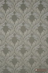 James Dunlop Provence - Zinc  | Curtain Fabric - Grey, Art Noveau, Damask, Deco, Decorative, Eclectic, Natural Fibre, Ogee, Traditional, Domestic Use, Dry Clean, Natural
