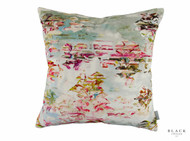 Black Edition - Pleasure Gardens Velvet Cushion  | Cusion Fabric - Floral, Garden, Pink, Purple, Chinoise, Domestic Use, Dry Clean, Print, Watercolour