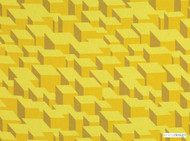 Kirkby Design - Cubic Bumps Sunshine  | Curtain & Upholstery fabric - Gold,  Yellow, Geometric, Small Scale, Synthetic, Abstract, Domestic Use, Dry Clean, Standard Width