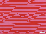 Kirkby Design - Stripey Zig Zag Birds Wallcovering Crimson  | Wallpaper, Wallcovering - Metallic, Red, Geometric, Pink, Purple, Abstract, Chevron, Zig Zag, Domestic Use, Print