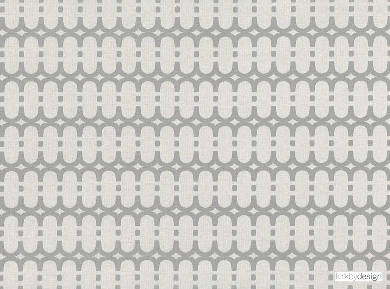 Kirkby Design - Loopy Link Aluminium  | Curtain & Upholstery fabric - Grey, Silver, Fibre Blends, Geometric, Domestic Use, Dry Clean, Standard Width