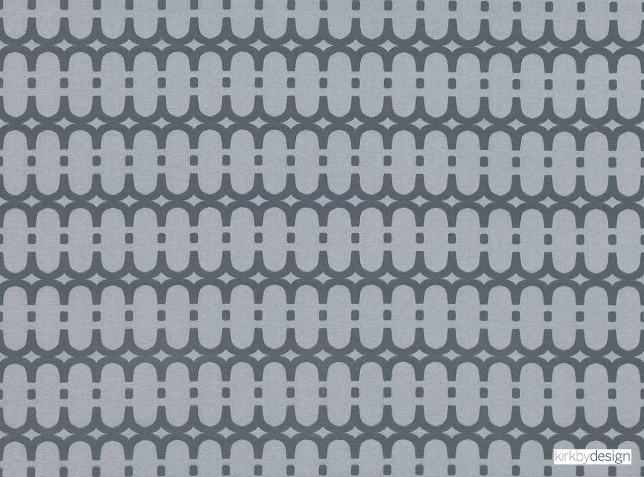 Kirkby Design - Loopy Link Storm  | Curtain & Upholstery fabric - Grey, Fibre Blends, Geometric, Domestic Use, Dry Clean, Standard Width