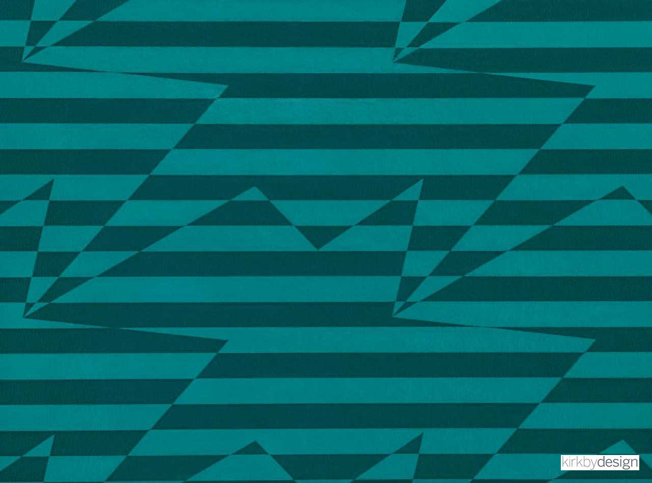 Kirkby Design - Stripey Zig Zag Birds Wallcovering Teal  | Wallpaper, Wallcovering - Metallic, Geometric, Turquoise, Teal, Abstract, Chevron, Zig Zag, Domestic Use, Metal