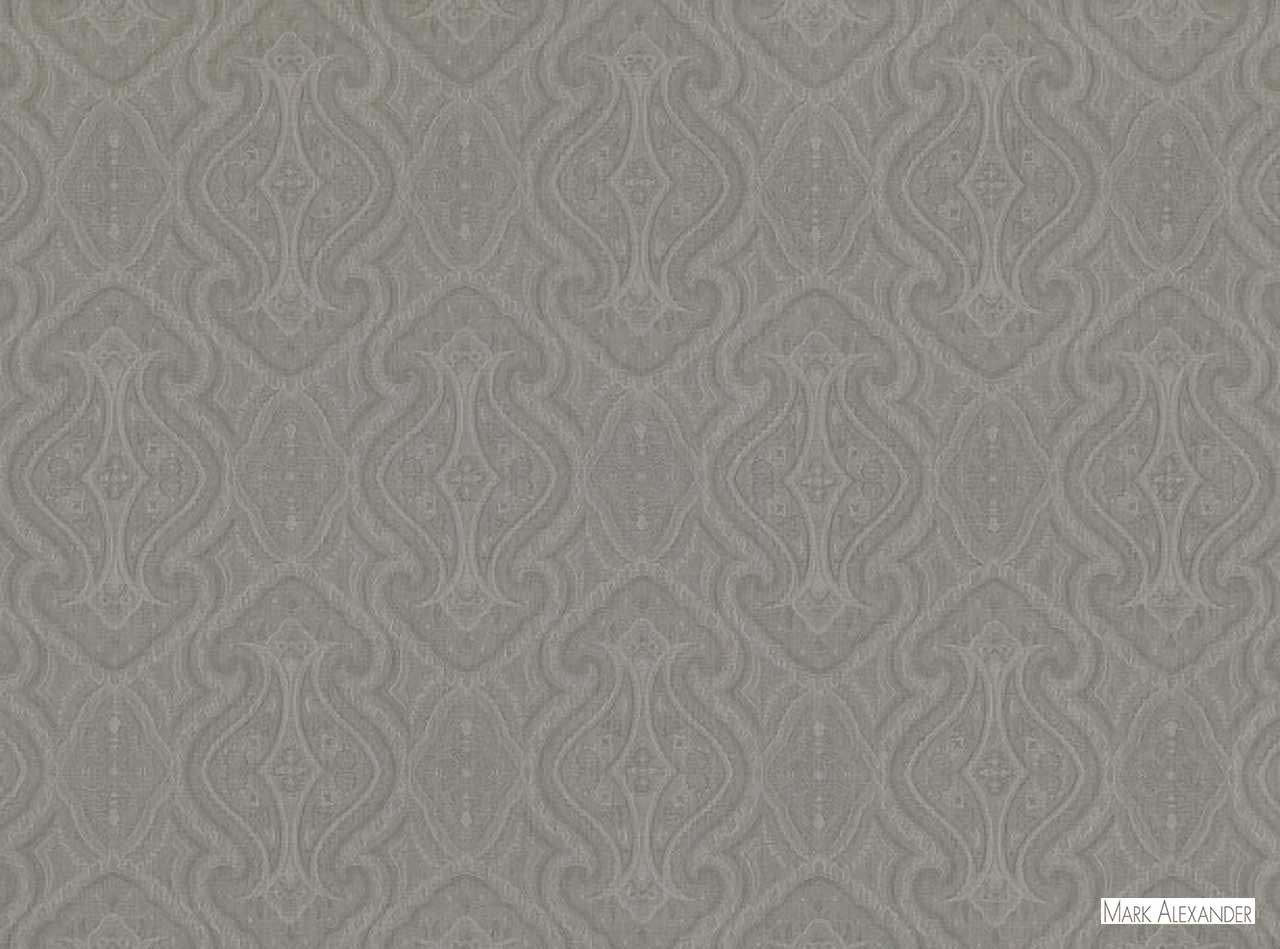 Mark Alexander - Tranquillo Storm  | Curtain & Curtain lining fabric - Grey, Damask, Natural Fibre, Ogee, Paisley, Traditional, Domestic Use, Dry Clean, Natural